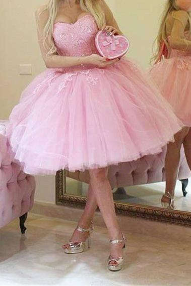 Lace Beaded Sweetheart Pink Tulle Short Prom Homecoming Dress