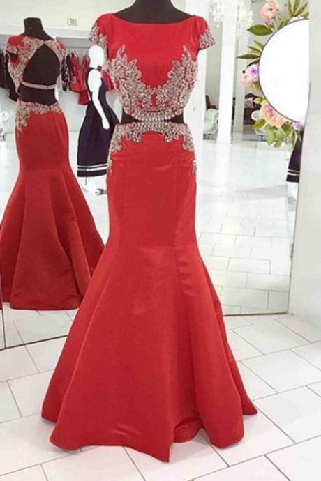 Red satin lace applique two pieces mermaid long dresses,formal dresses
