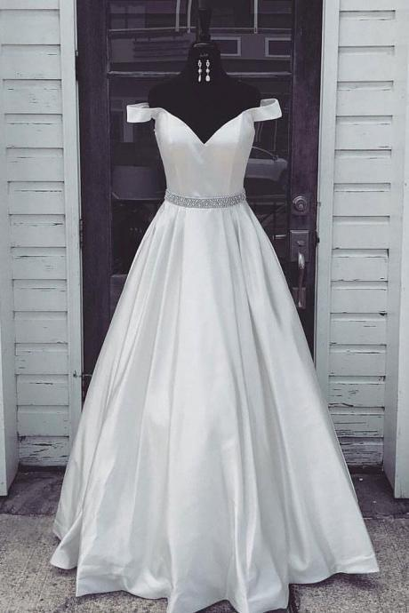 White Off Shoulder Long Prom Dress,Simple Evening Dress,Sweetheart Prom Dress