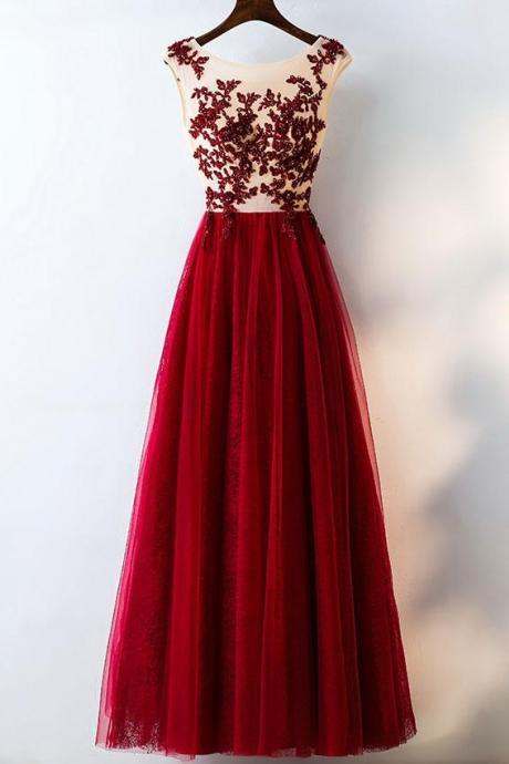 Burgundy Tulle Lace Applique Long Prom Dress,Sleeveless Sheer Beaded Formal Dress,A-Line Evening Dress