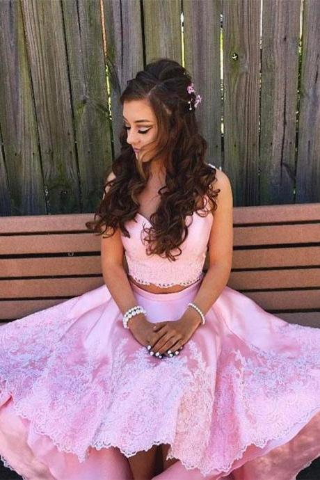 Pink two-pieces lace high low prom dress,pink evening dress,lace prom dresses