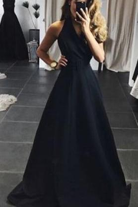 black long prom dresses,halter evening dresses,simple stain party dress,A-Line prom dress