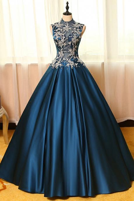 Blue satin prom dress, lace applique prom dress,round neck prom dress, A-line long prom dresses,ball gown dresses