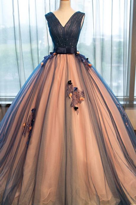 Pretty tulle prom dress,v-neck applique prom dress,A-line long evening dresses ,ball gown dress