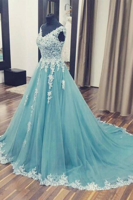 Charming Blue Prom Dress, Unique A Line Prom Dress,V neck Appliques Prom Dress,Long Formal Prom Dress