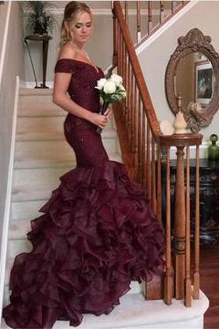 Lace Off The Shoulder Prom Dress, Bodice Corset Organza Ruffles Mermaid Prom Dress, Sexy Wine Red Prom Dress