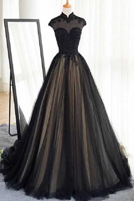 Black tulle prom dress, floor-length long prom dress, luxury cap sleeves prom dress with beaded