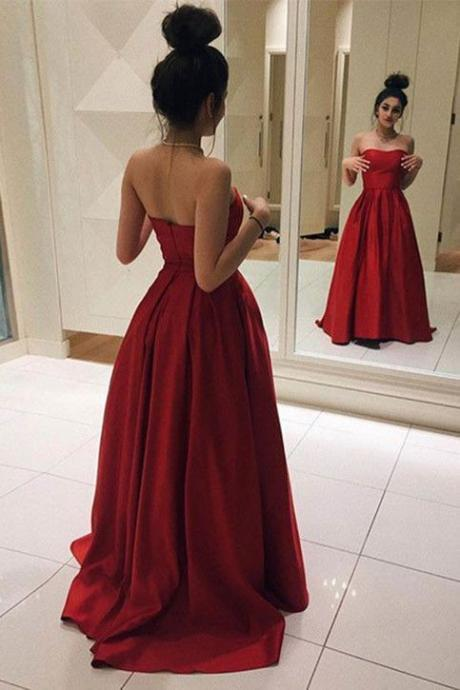 Red Sexy Prom Dress, Strapless Prom Dress, Long Prom Dress