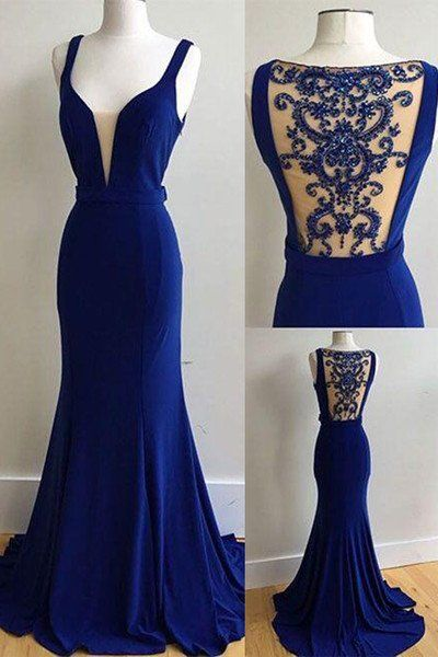 Elegant royal blue prom dress, chiffon long prom dress, halter sweetheart prom dress
