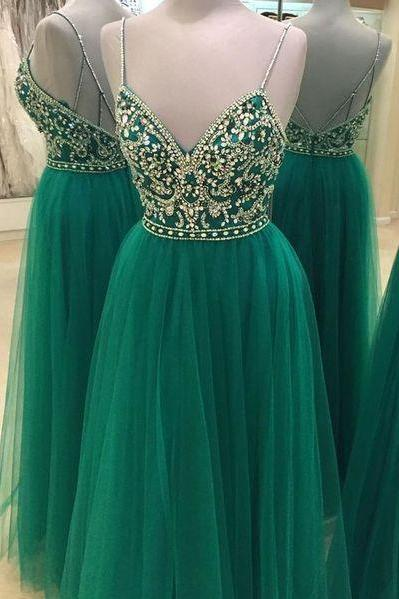 Green Beaded Prom Dress, Backless Tulle Prom Dress, Elegant Spaghetti Straps Prom Dress