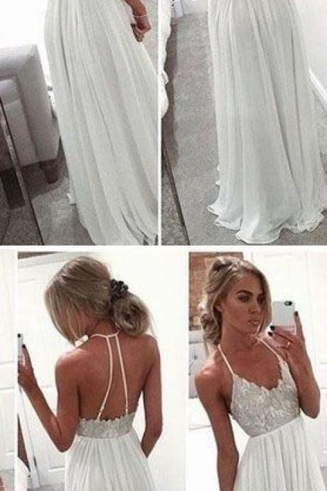 Long Chiffon Prom Dress, A-Line White Prom Dress, Spaghetti Strap Open Back Prom Dress