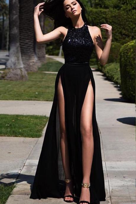 Black Sexy Prom Dress, High Slit A-line Prom Dress, Long Chiffon Prom Dress