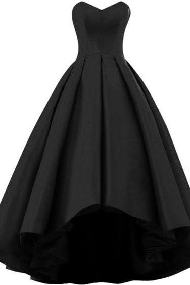 Black Strapless Sweetheart High-Low Prom Dress, Evening Dress