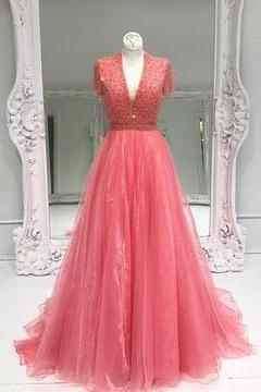 Charming Tulle Prom Dress, Cap Sleeves V Neck Prom Dress, Beaded Long Prom Dress