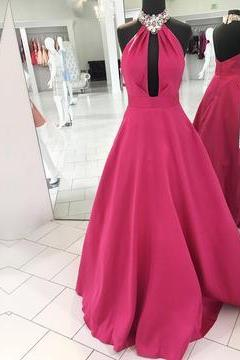 Simple Sleeveless Prom Dress, Halter Stain Prom Dress, A-Line Long Prom Dress