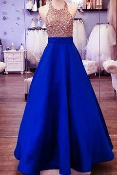 Gold Beading Satin Prom Dress, Classical Halter Prom Dress, Royal Blue Long Prom Dress