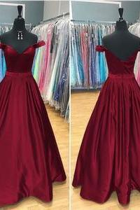 Fancy Long Prom Dress, Satin V Neck Prom Dress, Off Shoulder Sweetheart Prom Dress