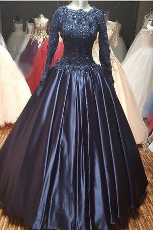 Decent Long Prom Dress, Long Sleeves Beaded Prom Dress, Stain Lace Long Prom Dress