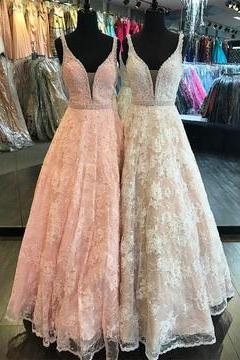 Sexy V Neck Long Prom Dress, Lace A-Line Prom Dress, Light Pink Spaghetti Straps Prom Dress