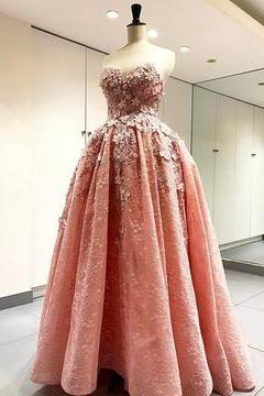 Elegant Handmade Flower Sweetheart Pink Lace Prom Dresses Floor Length Evening Gowns