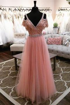 Elegant Off The Shoulder Long Tulle Pink Prom Dresses Evening Gowns 2018