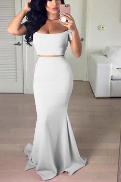 Gentle White Prom Dress, Off The Shoulder Prom Dress, Two Piece Mermaid Prom Dress