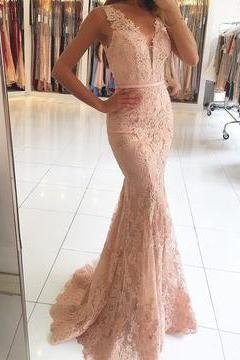 Sexy Nude Prom Dress, Champagne Lace Prom Dress, Long Mermaid Evening Dress 2018