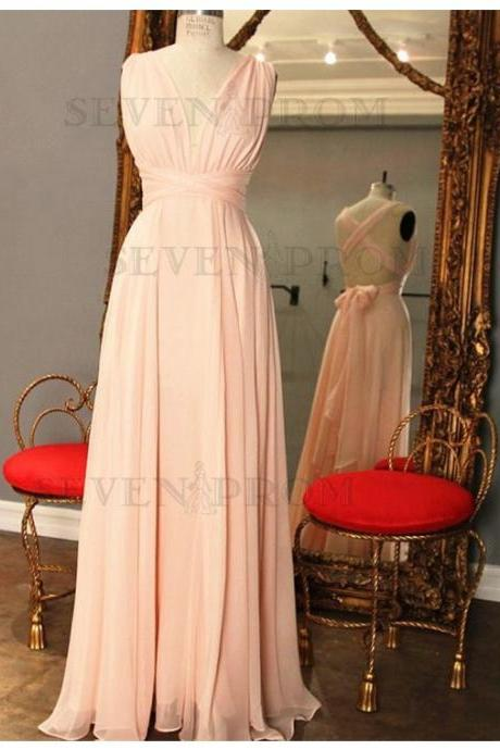 Simple Pink V-Neck Criss-Cross Straps Pleats Bow knot Long Prom Dress