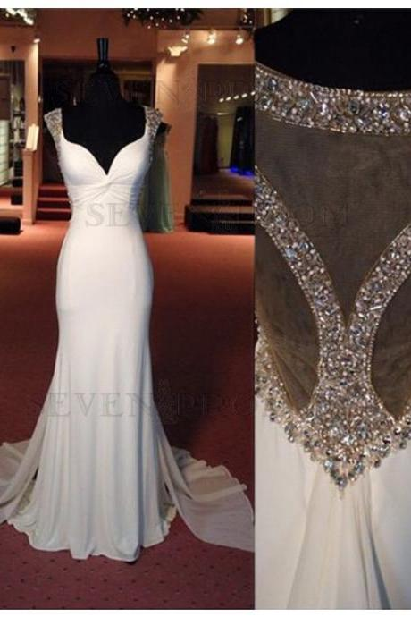 Modern White Sweetheart Cap Sleeves Detachable Beading Rhinestone Prom Dress