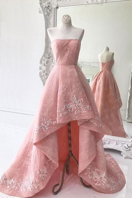 Custom Made Pink Strapless Bandeau Neckline High Low Bridesmaid Dresses with Floral Embroidery, Homecoming Dress