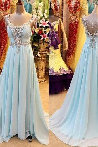 Simple A-Line Prom Dress, V-Neck Prom Dress, Chiffon Crystal Prom Dress