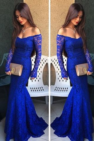 Royal Blue Prom Dress, Lace Prom Dress, Long Sleeves Prom Dress, Sexy Prom Dress