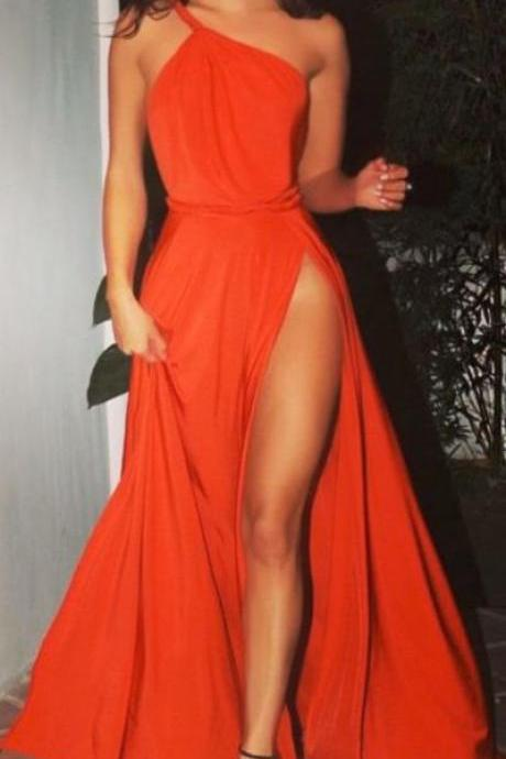 one shoulder prom dress, simple long prom dress, slit side stain prom dress
