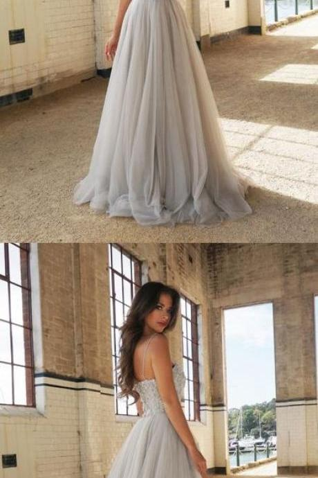 White Sweetheart Prom dress, Elegant Spaghetti Straps Prom Dress, Tulle Long Prom Dress