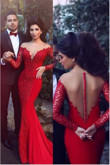Sexy Red Prom Dress, Mermaid Long Prom Dress, Lace Sweep Train Prom Dress