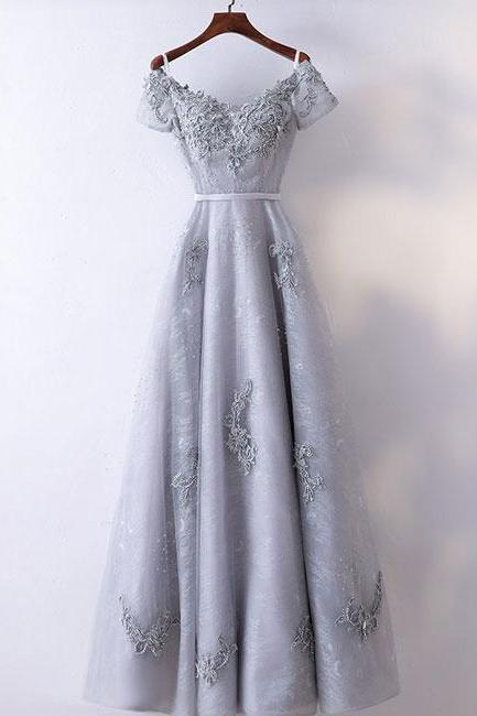 GRAY V NECK PROM DRESS, APPLIQUE LONG PROM DRESS, CAP SLEEVES EVENING DRESS
