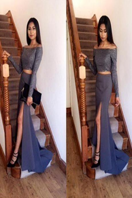 Long Two piece Prom Dress, Long Sleeves Prom Dress, Simple Slit Side Prom Dress