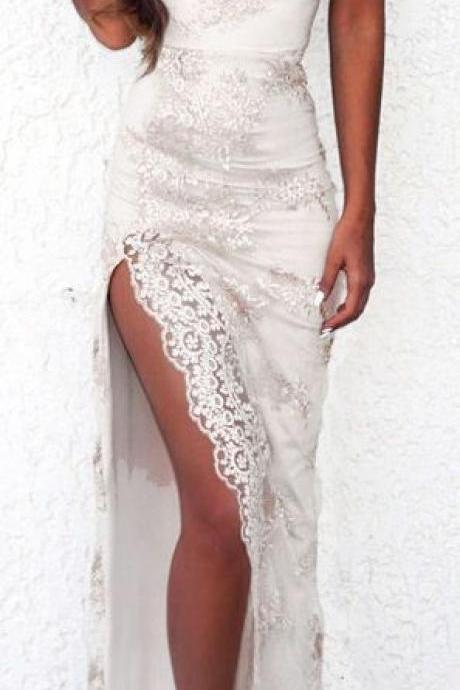 Lace Prom Dress,Split Prom Dress,Fashion Prom Dress,Sexy Party Dress,Custom Made Evening Dress