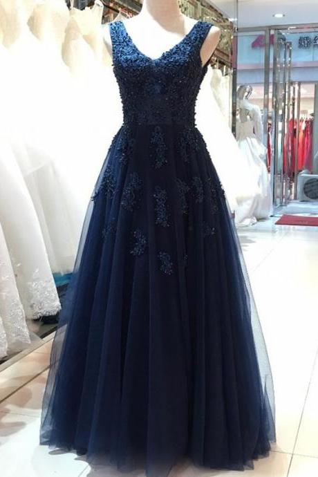 Floor Length V-Neck Prom Dress, Open Back Evening Dress, Beautiful Navy Blue Prom Dress