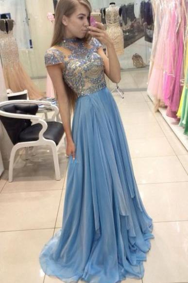 A-Line Jewel Prom Dress , Sweep Train Cap Sleeves Prom Dress , Blue Tulle Prom Dress with Beading