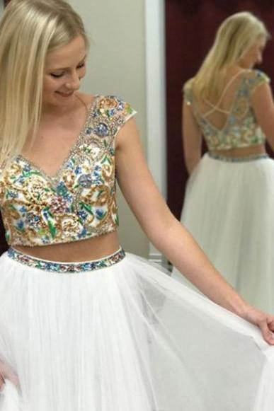 Two Piece A-line Prom Dress, Deep V-neck Prom Dress, Cap Sleeves Long Prom Dress, Beading White Prom Dress