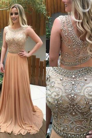 Champagne A-line prom dress, beading long prom dress, tulle evening dress
