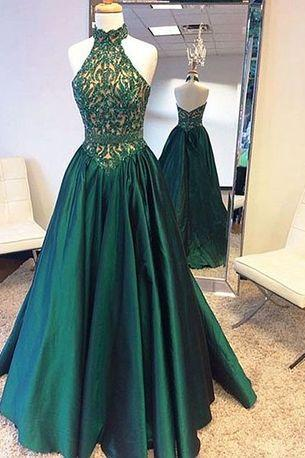 Elegant green prom dress, high neck long prom dress, sleeveless evening dress
