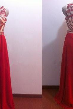Red Chiffon Prom Dress, See Through Bodice Prom Dress, Long Beading Prom Dress, A Line Evening Prom Gowns, Rhinestones Prom Dress