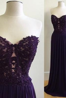 Lace Sweetheart Floor Length Chiffon A-Line Formal Dress, Prom Dress