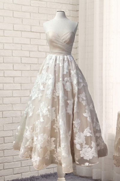 Sweetheart ivory lace prom dress, long customize prom dress, ivory A-line evening dress