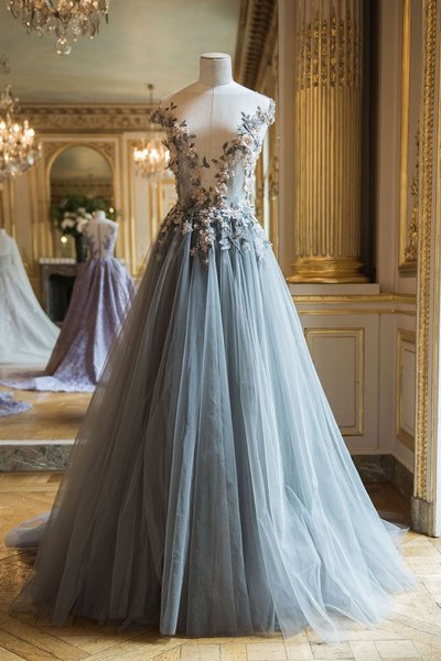 Gorgeous v neck prom dress, tulle long prom dress, applique evening dress