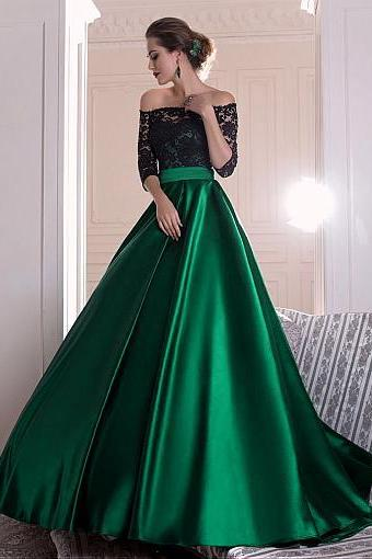 Graceful Lace Prom Dress, Green Satin Long Prom Dress, Off-the-shoulder A-line Evening Dress With Pleats