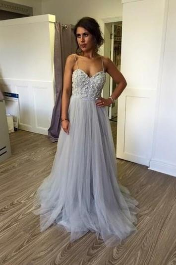 Sexy Tulle Prom Dress, Spaghetti Straps Long Prom Dress, Lace evening Dress