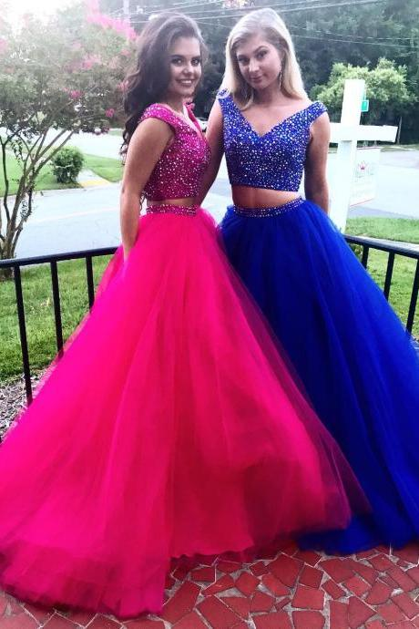 Crystal Beaded Bodice Prom Dress, Two Piece Tulle Prom Dress, V-Neck Long Party Dress